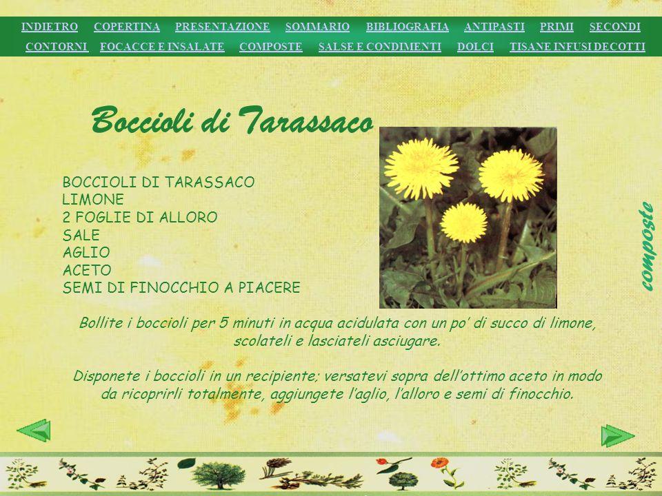 Boccioli di Tarassaco BOCCIOLI DI TARASSACO LIMONE 2 FOGLIE DI ALLORO SALE AGLIO ACETO SEMI DI FINOCCHIO A PIACERE Bollite i boccioli per 5 minuti in