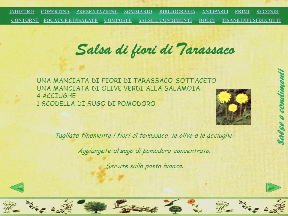 Salsa di fiori di Tarassaco UNA MANCIATA DI FIORI DI TARASSACO SOTTACETO UNA MANCIATA DI OLIVE VERDI ALLA SALAMOIA 4 ACCIUGHE 1 SCODELLA DI SUGO DI PO