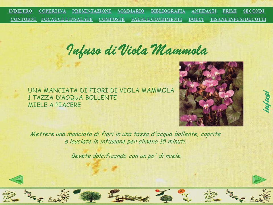 UNA MANCIATA DI FIORI DI VIOLA MAMMOLA 1 TAZZA DACQUA BOLLENTE MIELE A PIACERE Mettere una manciata di fiori in una tazza d'acqua bollente, coprite e