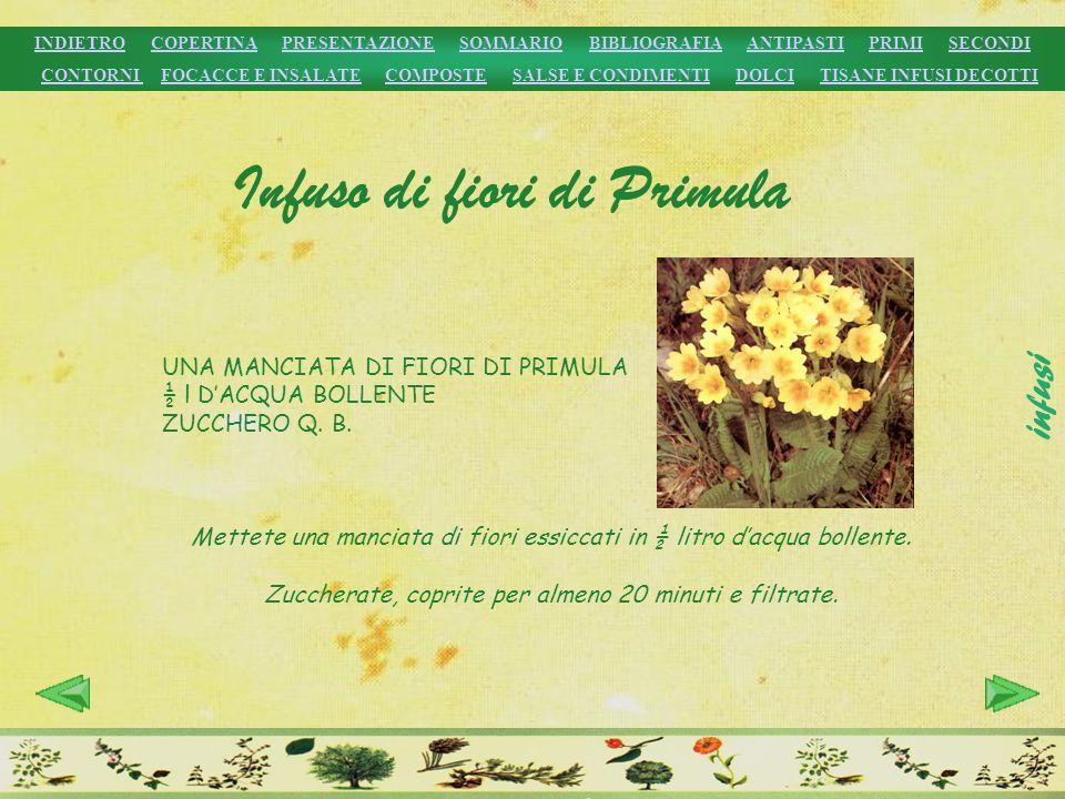 UNA MANCIATA DI FIORI DI PRIMULA ½ l DACQUA BOLLENTE ZUCCHERO Q. B. Mettete una manciata di fiori essiccati in ½ litro dacqua bollente. Zuccherate, co