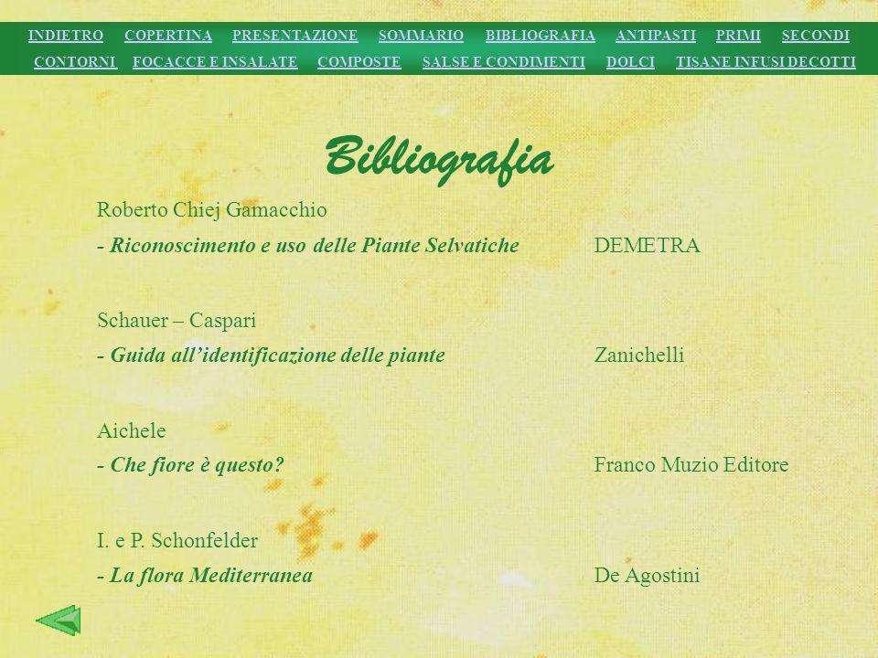Bibliografia Roberto Chiej Gamacchio - Riconoscimento e uso delle Piante SelvaticheDEMETRA Schauer – Caspari - Guida allidentificazione delle pianteZa