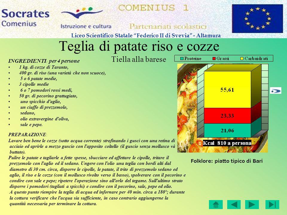 Teglia di patate riso e cozze Tiella alla barese INGREDIENTI : per 4 persone 1 kg. di cozze di Taranto, 400 gr. di riso (una varietà che non scuoce),