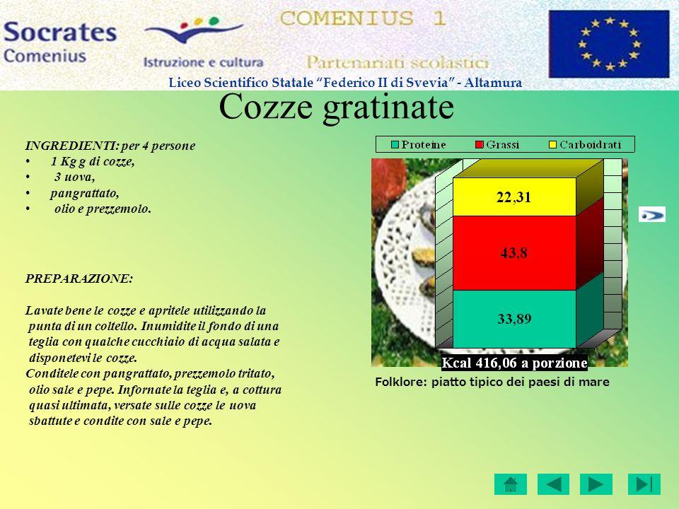 Cozze gratinate INGREDIENTI: per 4 persone 1 Kg g di cozze, 3 uova, pangrattato, olio e prezzemolo. PREPARAZIONE: Lavate bene le cozze e apritele util