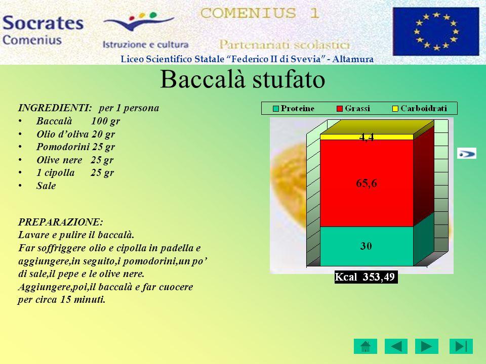 Baccalà stufato INGREDIENTI: per 1 persona Baccalà 100 gr Olio doliva 20 gr Pomodorini 25 gr Olive nere 25 gr 1 cipolla 25 gr Sale PREPARAZIONE: Lavar