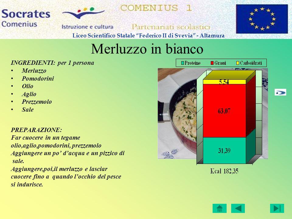 Merluzzo in bianco INGREDIENTI: per 1 persona Merluzzo Pomodorini Olio Aglio Prezzemolo Sale PREPARAZIONE: Far cuocere in un tegame olio,aglio,pomodor