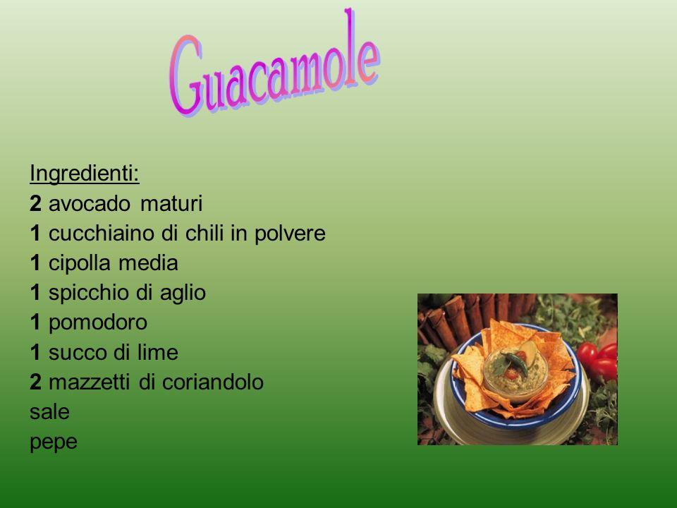 Il guacamole è una salsa di origine atzeca, che viene schiacciata tradizionalmente usando il mortaio,nei metodi più moderni,con una forchetta e una ciotola.
