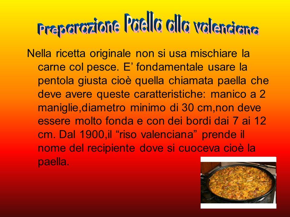 Ingredienti: Petto di pollo - 300 g,Lonza di maiale - 300 g,Coniglio disossato - 300 g,Calamari - 400 g,Gamberi precotti - 500 g,Vongole - 1 kg,Cozze - 1 kg,Piselli - 300 g,Fagiolini - 300 g,Peperoni rossi - Funghi champignons - 200 g,Polpa di pomodoro - 300 g,Cipollotti freschi – 2,Prezzemolo fresco - 1 ciuffo,Erba cipollina secca - 3 cucchiai,Paprika - 2 cucchiai,Zafferano - 2 bustine,Riso a grana lunga parboiled - 600 g,Brodo vegetale - 1,8 l,Olio extravergine d oliva - 6 cucchiai.
