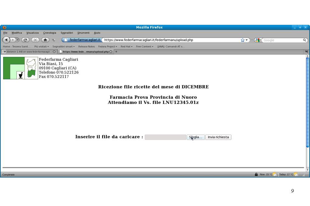 10 Federfarma Nuoro Cliccando sulla scelta di menu invia file ricette, potrete provvedere all invio del file sfogliando il disco C: nella cartella Ricette e, selezionando il file corrispondente al nome presente nella pagina.