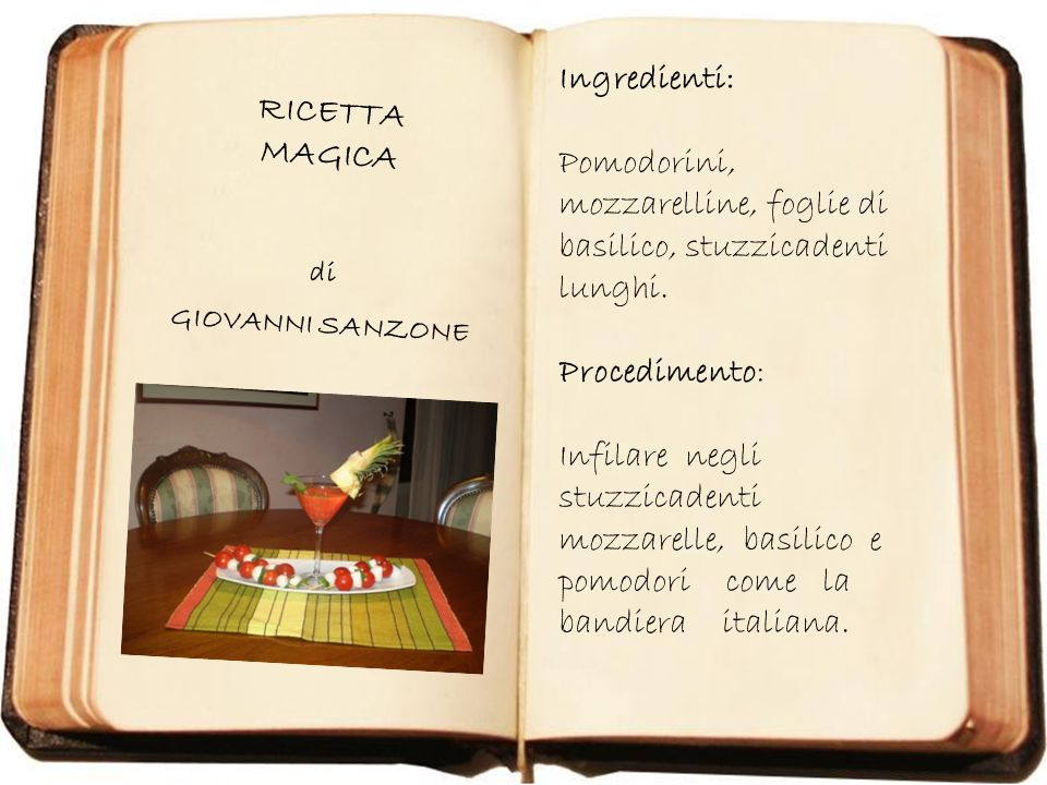 RICETTA MAGICA di GIOVANNI SANZONE Ingredienti: Pomodorini, mozzarelline, foglie di basilico, stuzzicadenti lunghi. Procedimento: Infilare negli stuzz