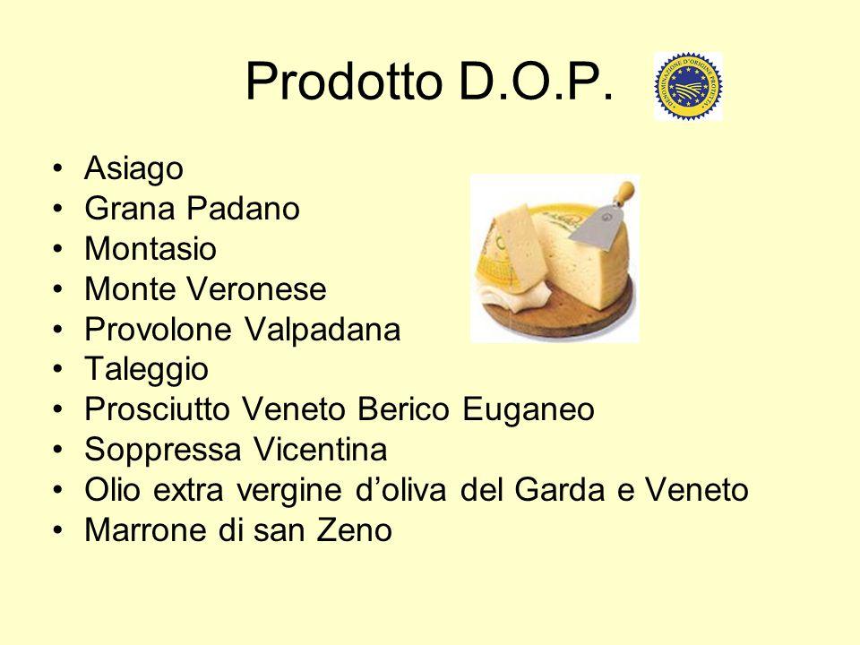 Prodotto D.O.P. Asiago Grana Padano Montasio Monte Veronese Provolone Valpadana Taleggio Prosciutto Veneto Berico Euganeo Soppressa Vicentina Olio ext