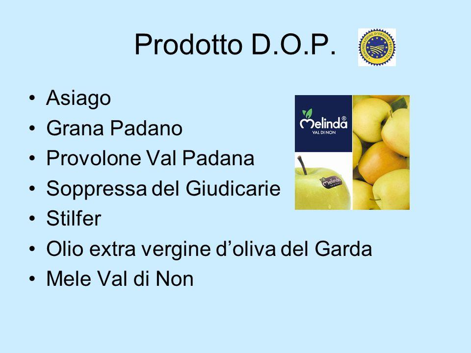 Prodotto D.O.P. Asiago Grana Padano Provolone Val Padana Soppressa del Giudicarie Stilfer Olio extra vergine doliva del Garda Mele Val di Non