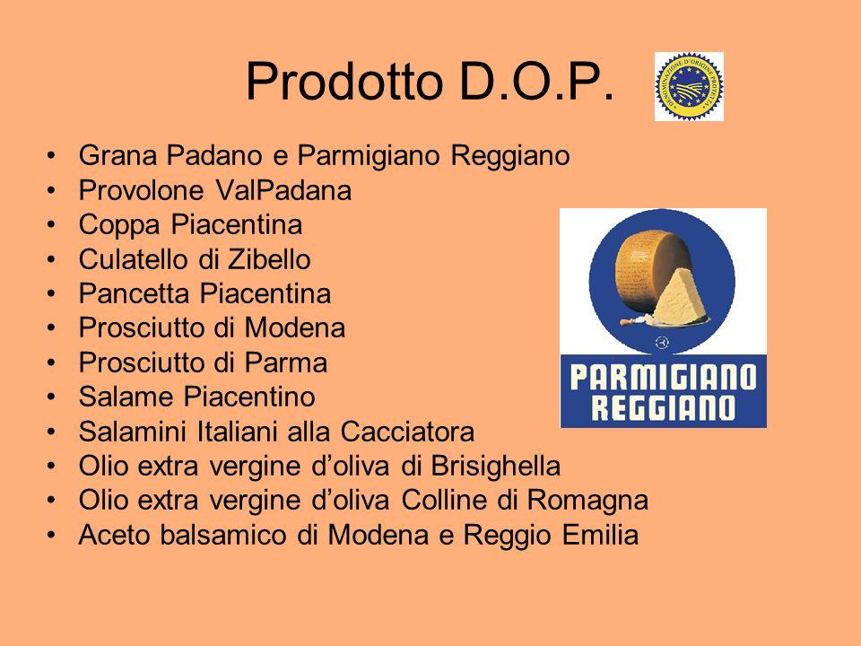 Prodotto D.O.P. Grana Padano e Parmigiano Reggiano Provolone ValPadana Coppa Piacentina Culatello di Zibello Pancetta Piacentina Prosciutto di Modena