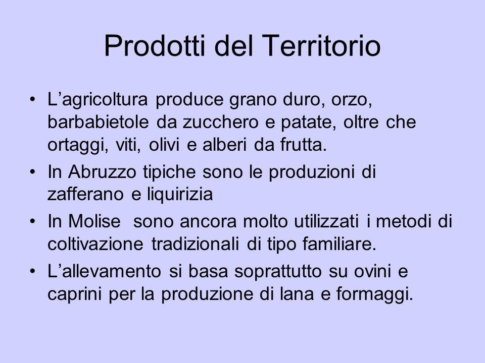 Prodotti del Territorio Lagricoltura produce grano duro, orzo, barbabietole da zucchero e patate, oltre che ortaggi, viti, olivi e alberi da frutta. I