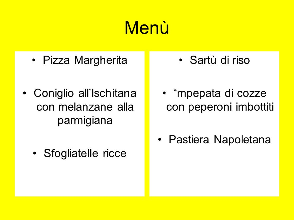 Menù Pizza Margherita Coniglio allIschitana con melanzane alla parmigiana Sfogliatelle ricce Sartù di riso mpepata di cozze con peperoni imbottiti Pastiera Napoletana
