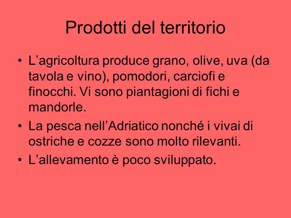 Prodotti del territorio Lagricoltura produce grano, olive, uva (da tavola e vino), pomodori, carciofi e finocchi. Vi sono piantagioni di fichi e mando