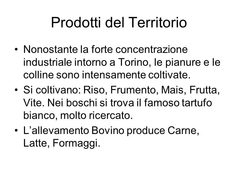 Prodotti del Territorio Nonostante la forte concentrazione industriale intorno a Torino, le pianure e le colline sono intensamente coltivate.