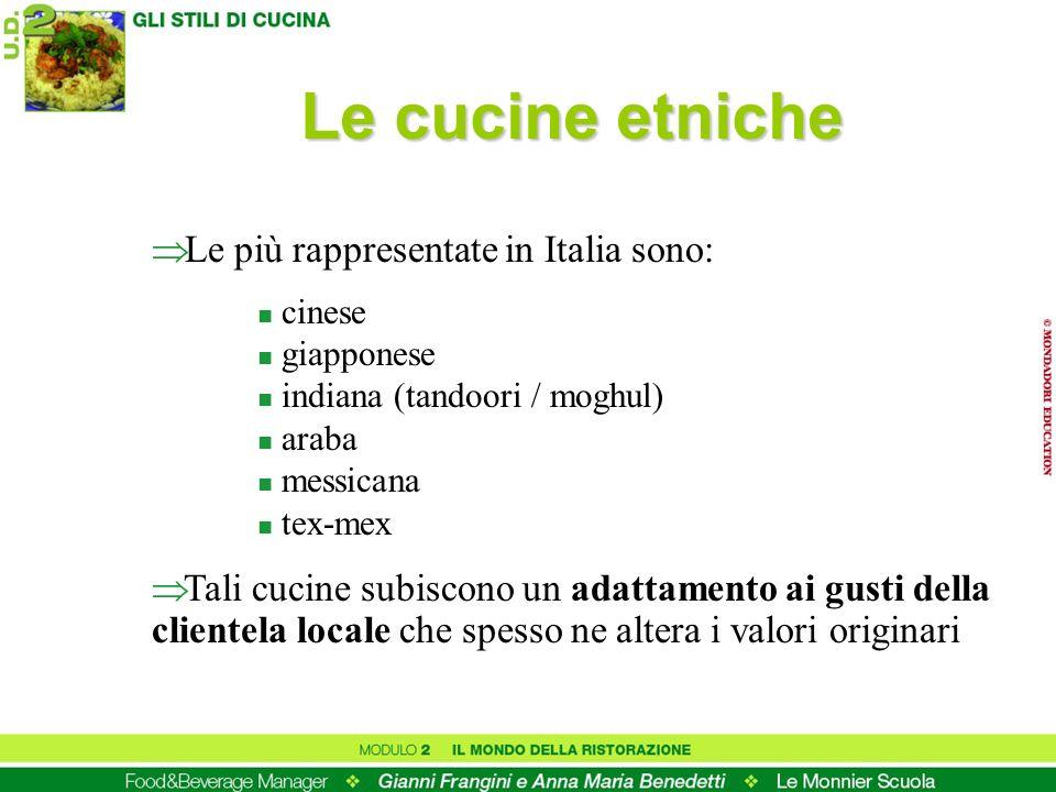 Le più rappresentate in Italia sono: n cinese n giapponese n indiana (tandoori / moghul) n araba n messicana n tex-mex Tali cucine subiscono un adatta