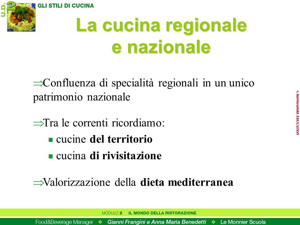 La cucina regionale e nazionale Confluenza di specialità regionali in un unico patrimonio nazionale Tra le correnti ricordiamo: n cucine del territori