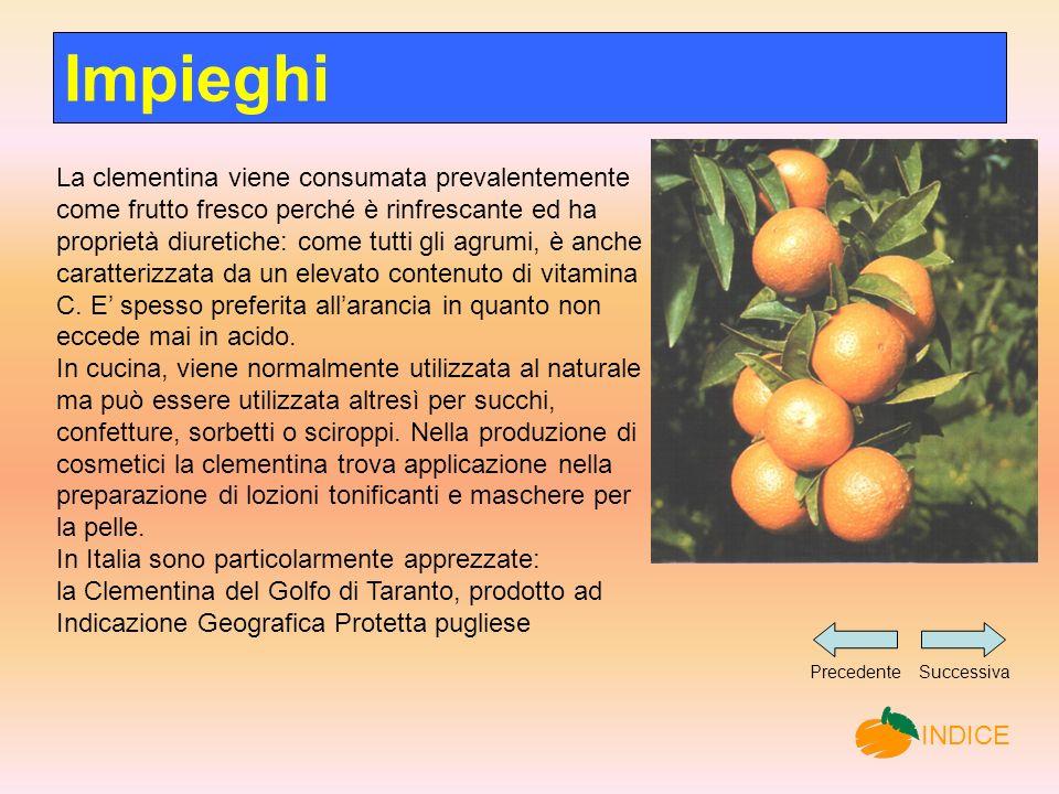 La clementina viene consumata prevalentemente come frutto fresco perché è rinfrescante ed ha proprietà diuretiche: come tutti gli agrumi, è anche caratterizzata da un elevato contenuto di vitamina C.