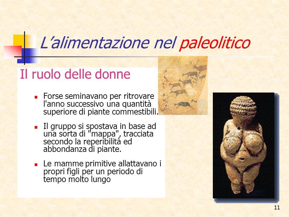 11 Lalimentazione nel paleolitico Il ruolo delle donne Forse seminavano per ritrovare l'anno successivo una quantità superiore di piante commestibili.