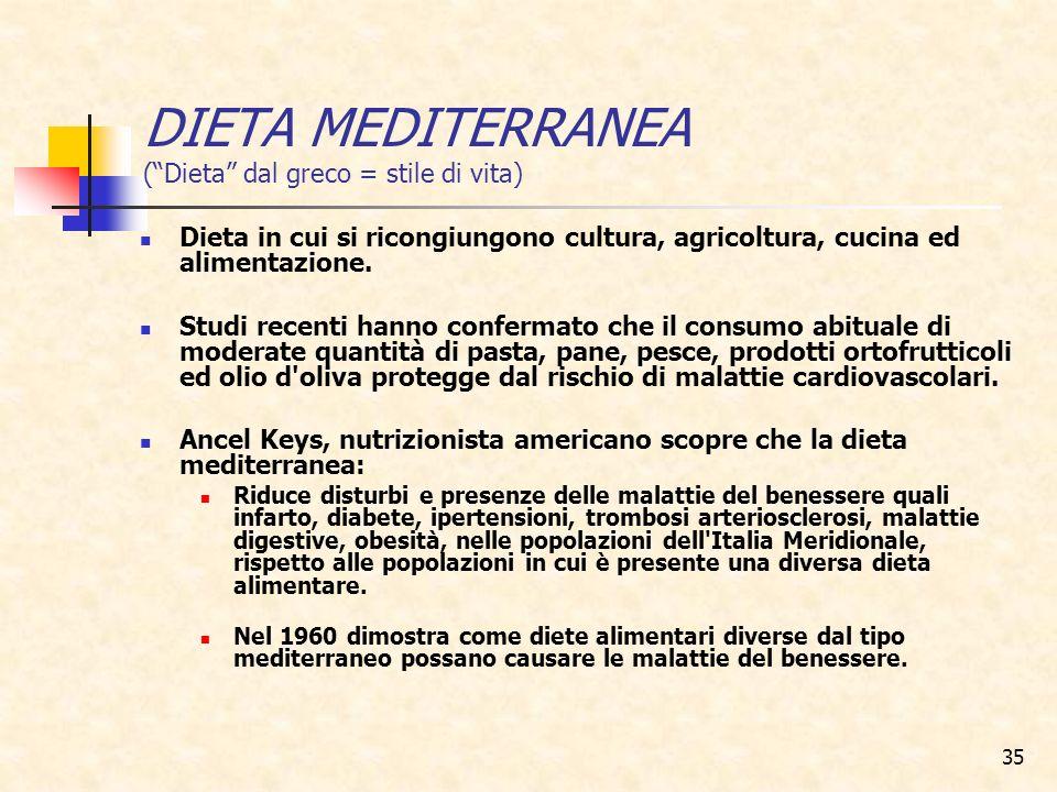 35 DIETA MEDITERRANEA (Dieta dal greco = stile di vita) Dieta in cui si ricongiungono cultura, agricoltura, cucina ed alimentazione. Studi recenti han