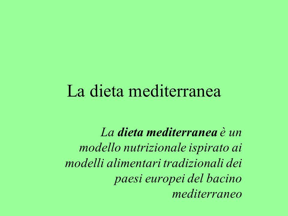 La dieta mediterranea La dieta mediterranea è un modello nutrizionale ispirato ai modelli alimentari tradizionali dei paesi europei del bacino mediter
