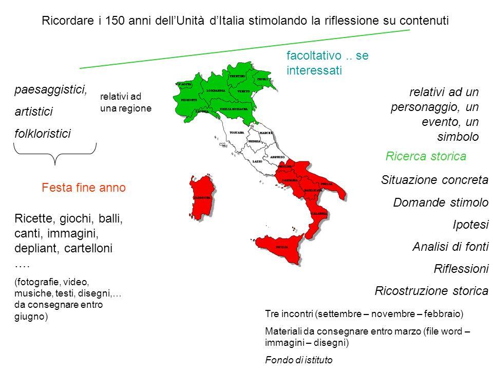 Ricordare i 150 anni dellUnità dItalia stimolando la riflessione su contenuti paesaggistici, artistici folkloristici relativi ad una regione Festa fin