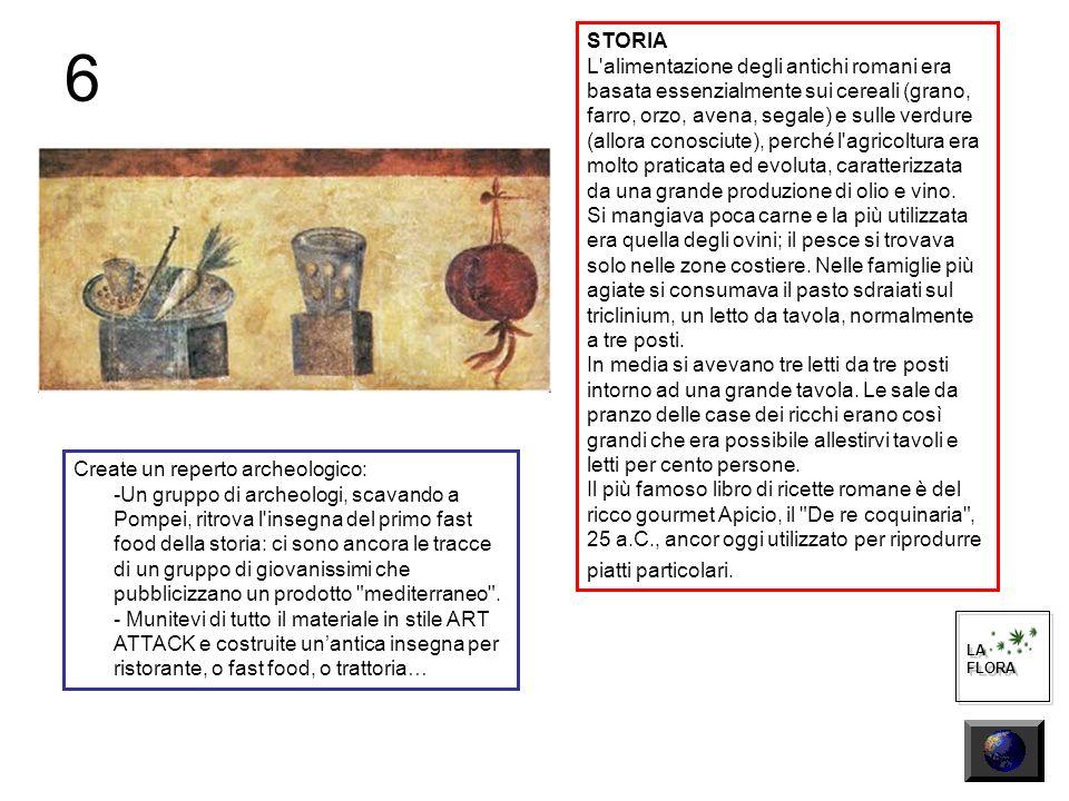6 LA FLORA LA FLORA STORIA L alimentazione degli antichi romani era basata essenzialmente sui cereali (grano, farro, orzo, avena, segale) e sulle verdure (allora conosciute), perché l agricoltura era molto praticata ed evoluta, caratterizzata da una grande produzione di olio e vino.