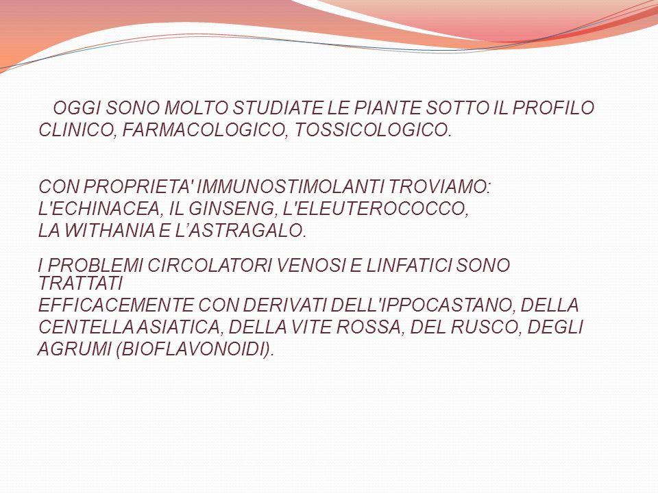 OGGI SONO MOLTO STUDIATE LE PIANTE SOTTO IL PROFILO CLINICO, FARMACOLOGICO, TOSSICOLOGICO. CON PROPRIETA' IMMUNOSTIMOLANTI TROVIAMO: L'ECHINACEA, IL G
