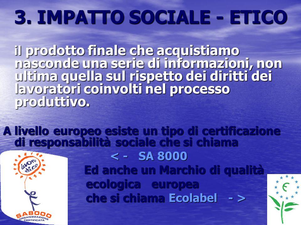 3. IMPATTO SOCIALE - ETICO il prodotto finale che acquistiamo nasconde una serie di informazioni, non ultima quella sul rispetto dei diritti dei lavor