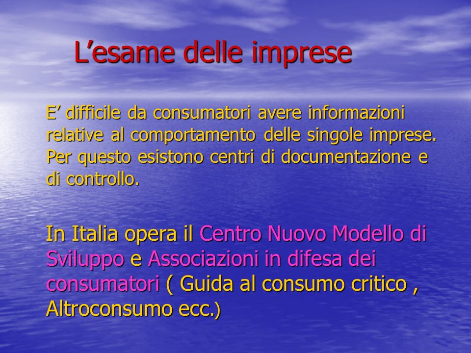Lesame delle imprese Lesame delle imprese E difficile da consumatori avere informazioni relative al comportamento delle singole imprese.