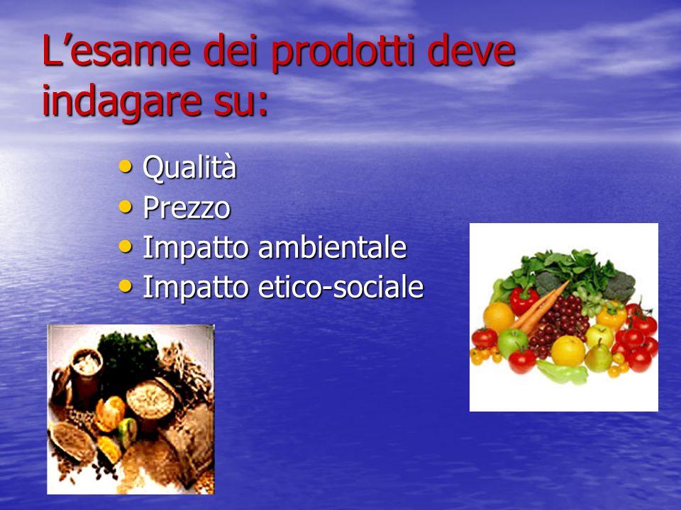 Lesame dei prodotti deve indagare su: Qualità Prezzo Impatto ambientale Impatto etico-sociale