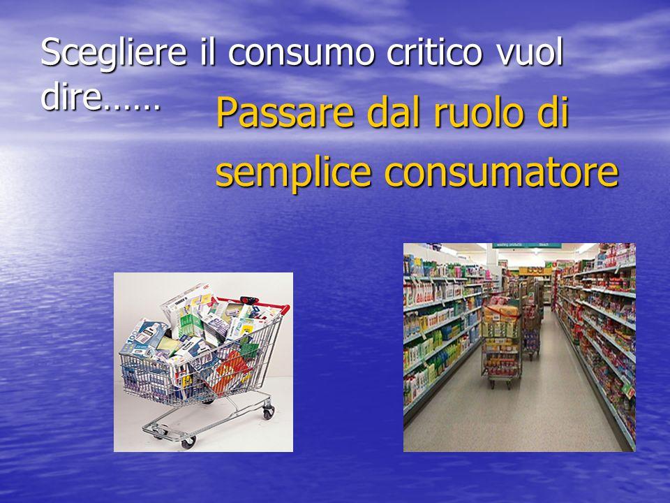 Scegliere il consumo critico vuol dire…… Passare dal ruolo di semplice consumatore