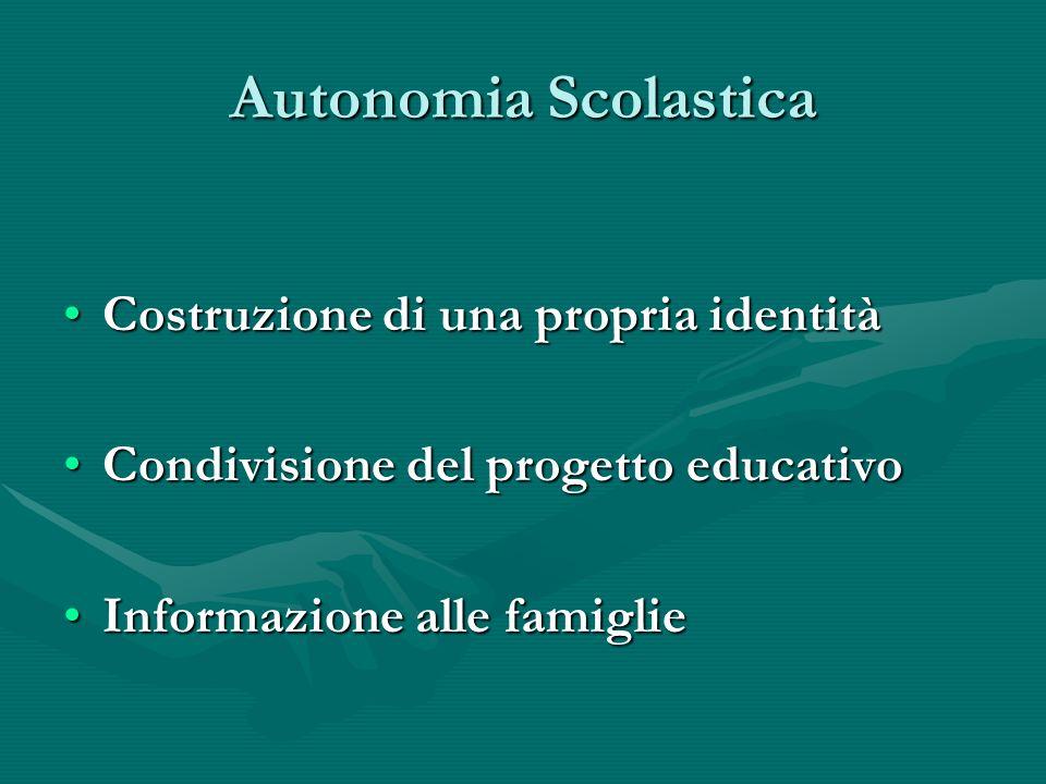 Autonomia Scolastica Costruzione di una propria identitàCostruzione di una propria identità Condivisione del progetto educativoCondivisione del progetto educativo Informazione alle famiglieInformazione alle famiglie