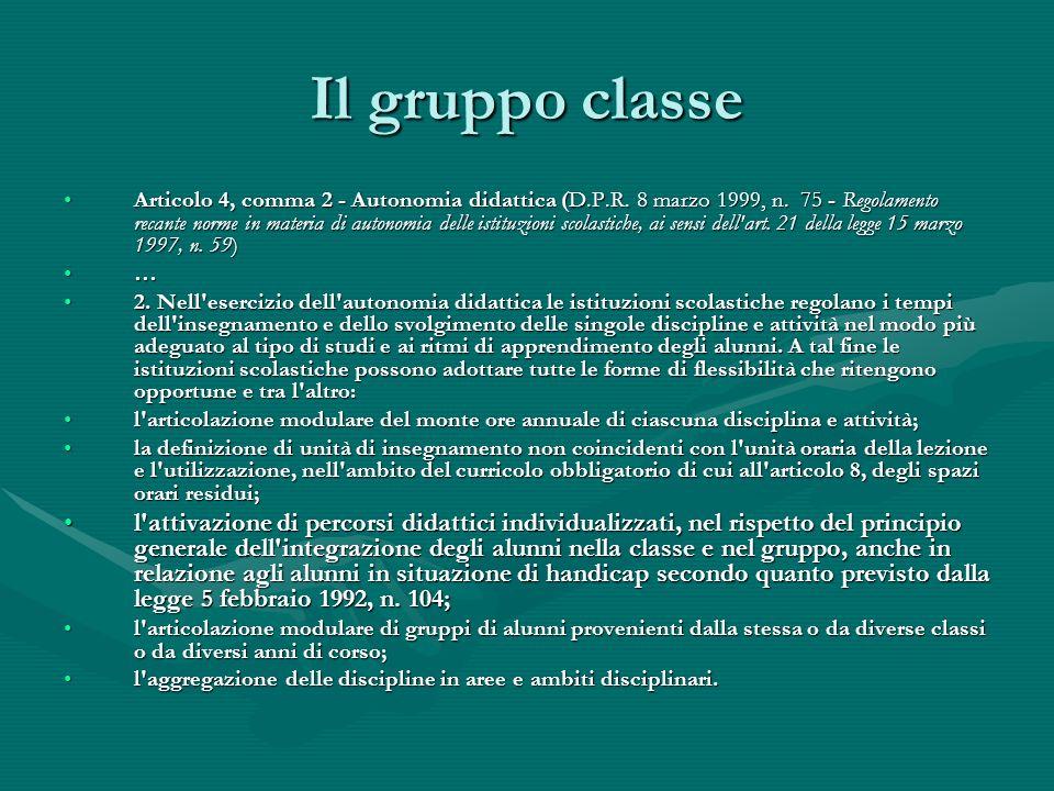 Il gruppo classe Articolo 4, comma 2 - Autonomia didattica (D.P.R.