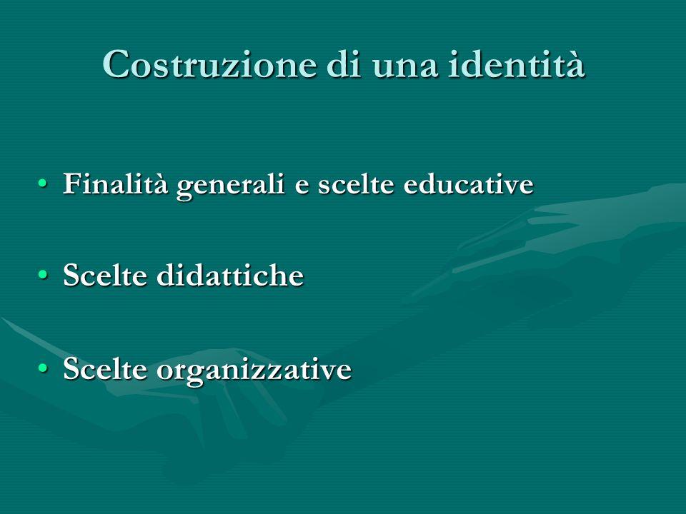 Costruzione di una identità Finalità generali e scelte educativeFinalità generali e scelte educative Scelte didatticheScelte didattiche Scelte organizzativeScelte organizzative