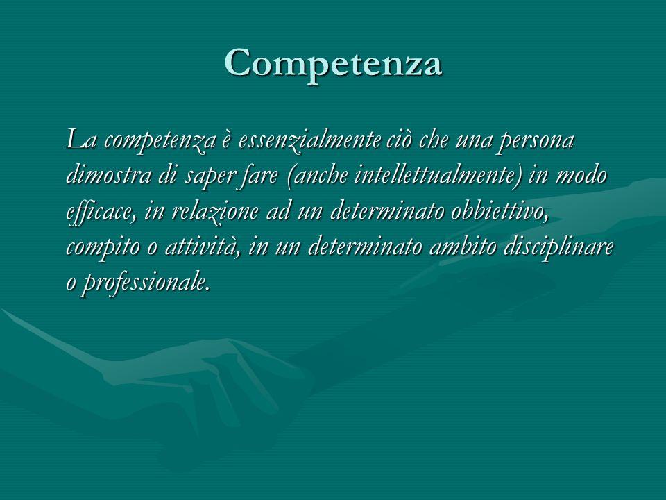 Competenza La competenza è essenzialmente ciò che una persona dimostra di saper fare (anche intellettualmente) in modo efficace, in relazione ad un determinato obbiettivo, compito o attività, in un determinato ambito disciplinare o professionale.