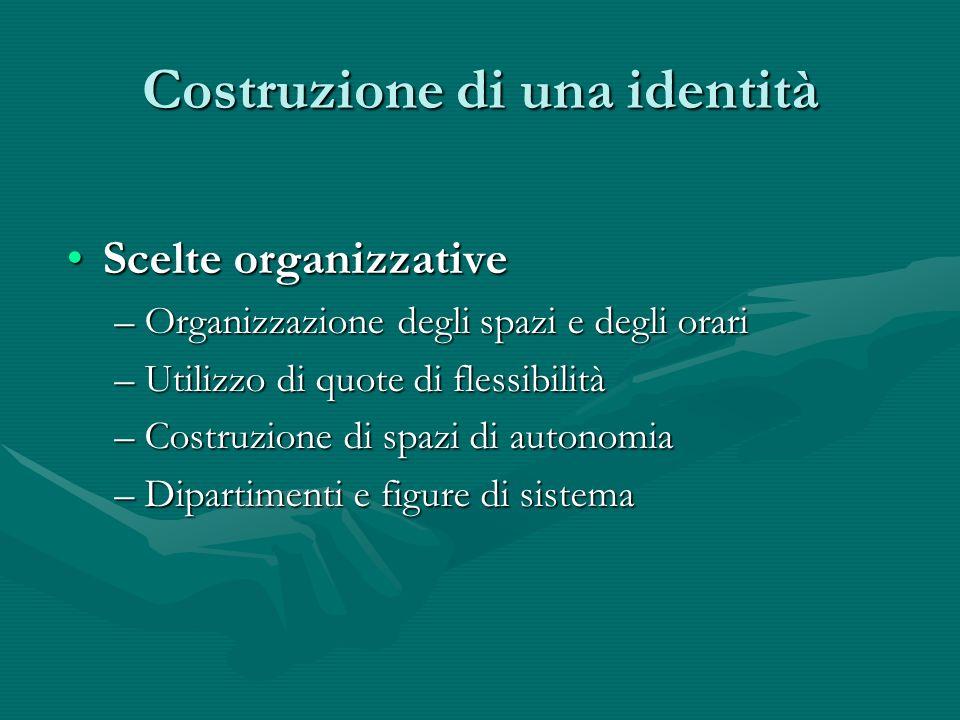 Costruzione di una identità Scelte organizzativeScelte organizzative –Organizzazione degli spazi e degli orari –Utilizzo di quote di flessibilità –Costruzione di spazi di autonomia –Dipartimenti e figure di sistema