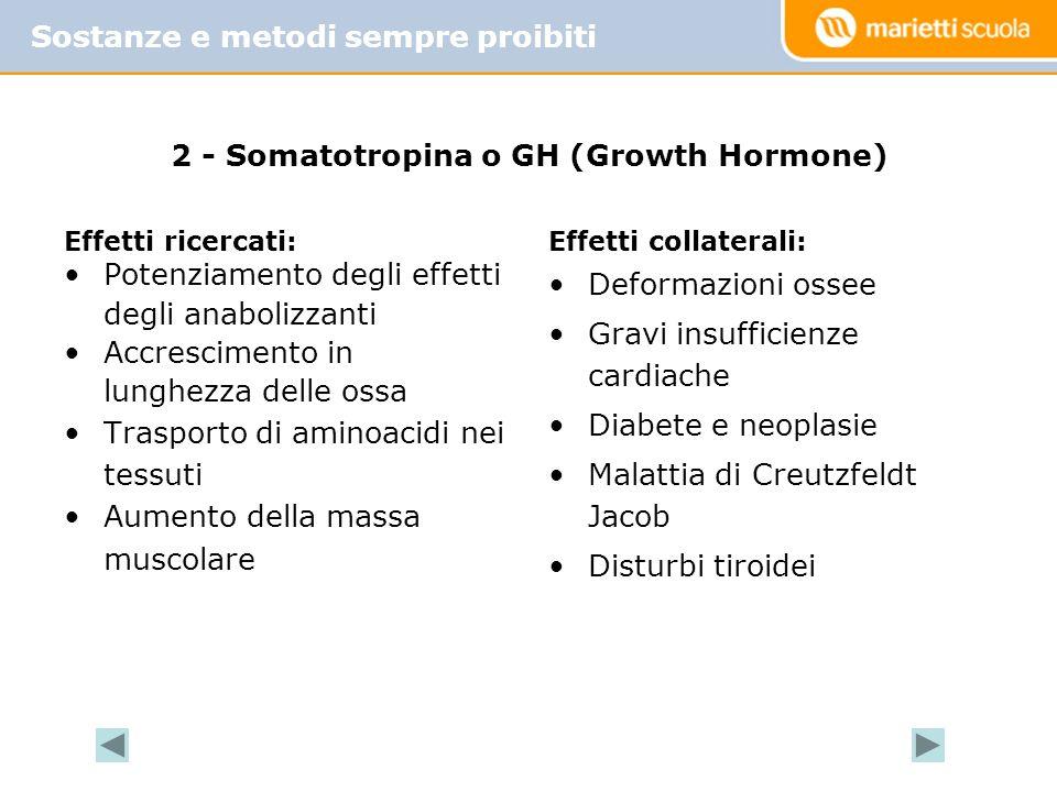 2 - Somatotropina o GH (Growth Hormone) Effetti ricercati: Potenziamento degli effetti degli anabolizzanti Accrescimento in lunghezza delle ossa Trasp