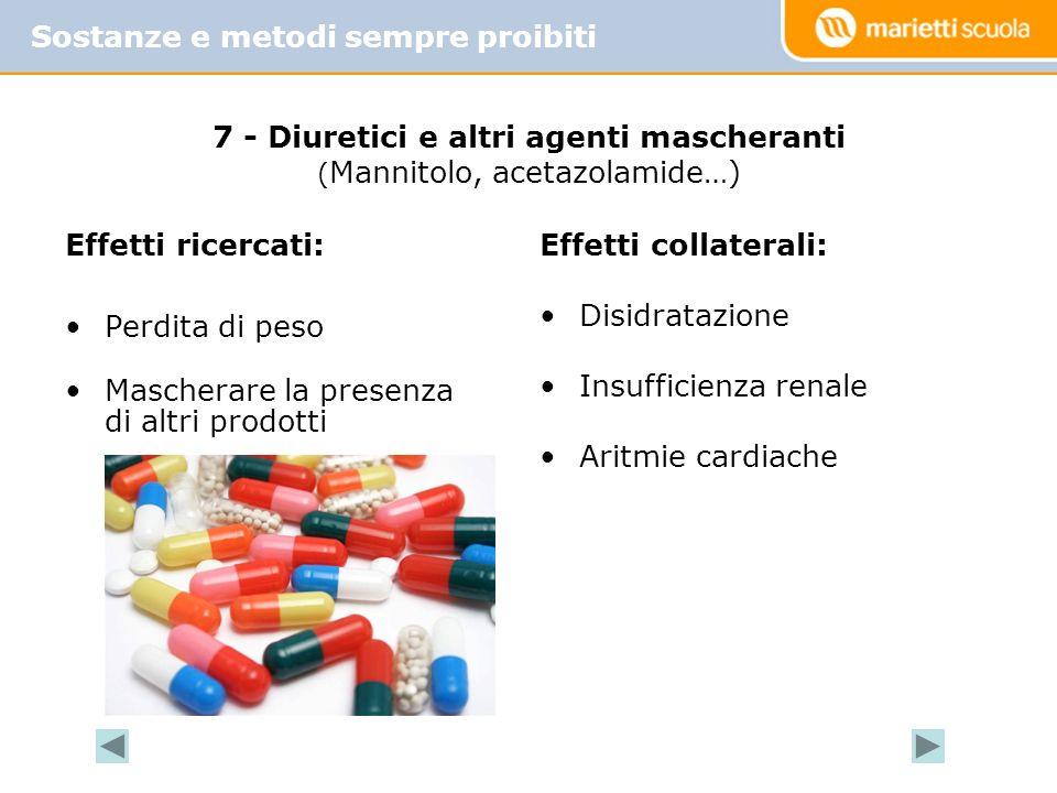 Effetti ricercati: Perdita di peso Mascherare la presenza di altri prodotti Effetti collaterali: Disidratazione Insufficienza renale Aritmie cardiache
