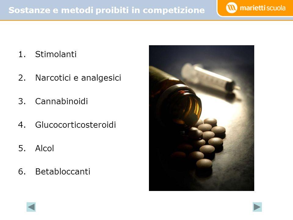 Sostanze e metodi proibiti in competizione Diuretici e altri agenti mascheranti 1.Stimolanti 2.Narcotici e analgesici 3.Cannabinoidi 4.Glucocorticoste