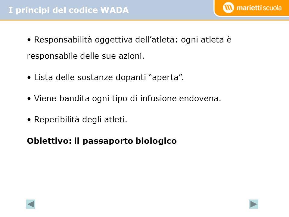 I principi del codice WADA Responsabilità oggettiva dellatleta: ogni atleta è responsabile delle sue azioni. Lista delle sostanze dopanti aperta. Vien