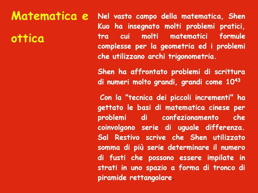 Matematica e ottica Nel vasto campo della matematica, Shen Kuo ha insegnato molti problemi pratici, tra cui molti matematici formule complesse per la geometria ed i problemi che utilizzano archi trigonometria.