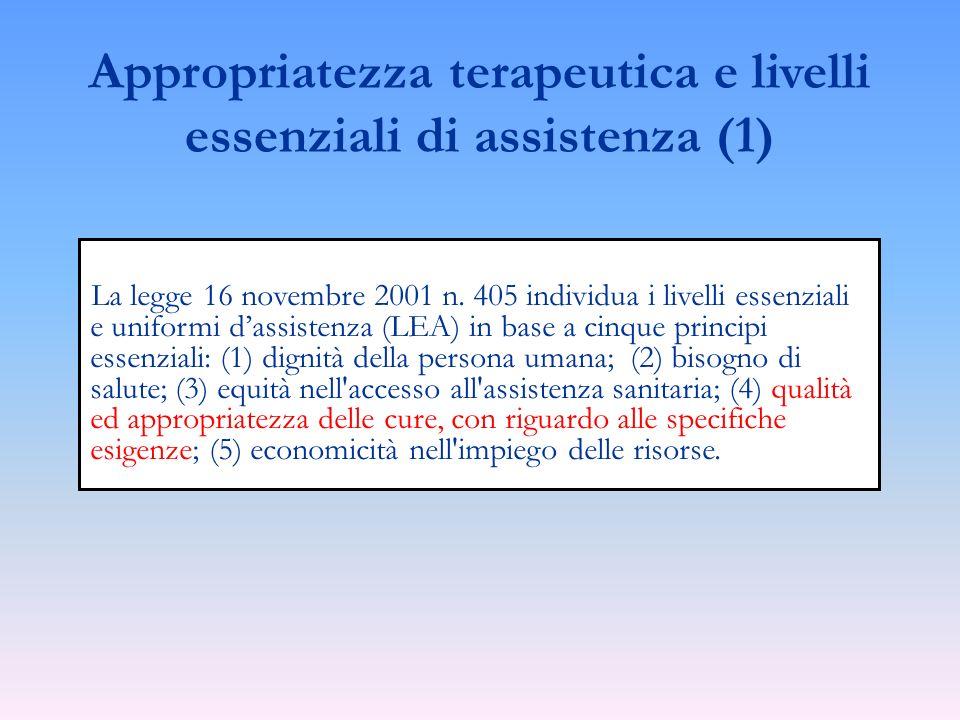 La legge 16 novembre 2001 n. 405 individua i livelli essenziali e uniformi dassistenza (LEA) in base a cinque principi essenziali: (1) dignità della p