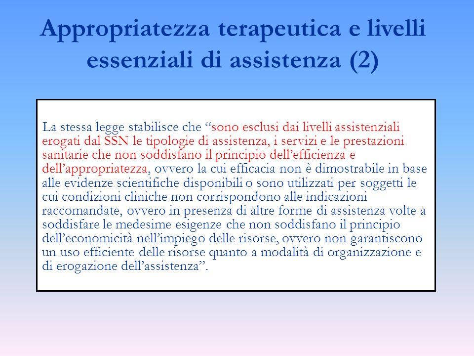 La stessa legge stabilisce che sono esclusi dai livelli assistenziali erogati dal SSN le tipologie di assistenza, i servizi e le prestazioni sanitarie