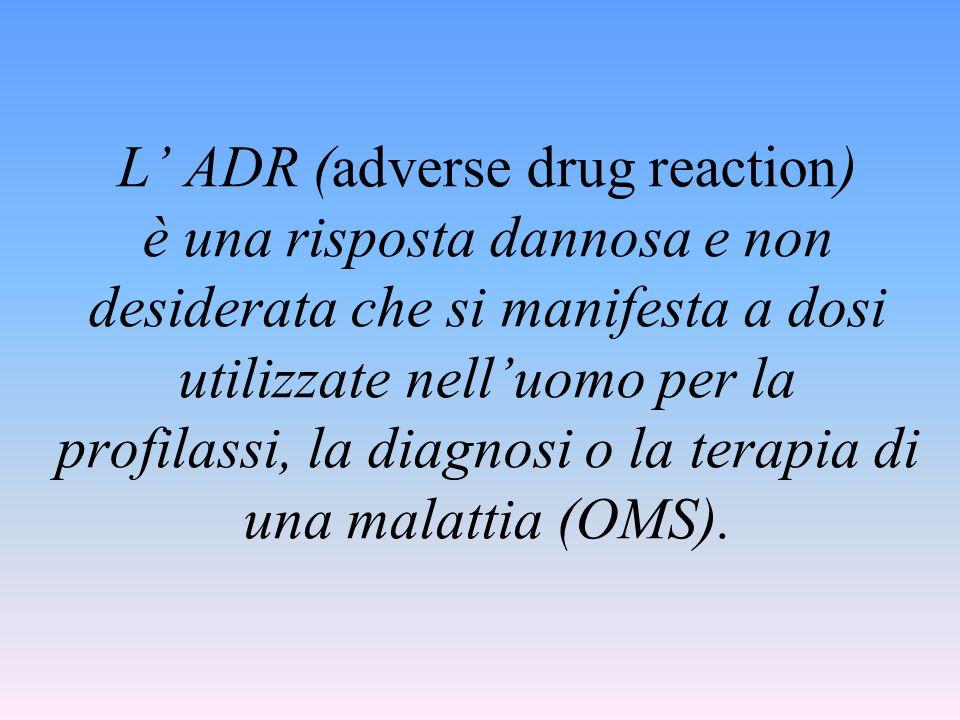 L ADR (adverse drug reaction) è una risposta dannosa e non desiderata che si manifesta a dosi utilizzate nelluomo per la profilassi, la diagnosi o la