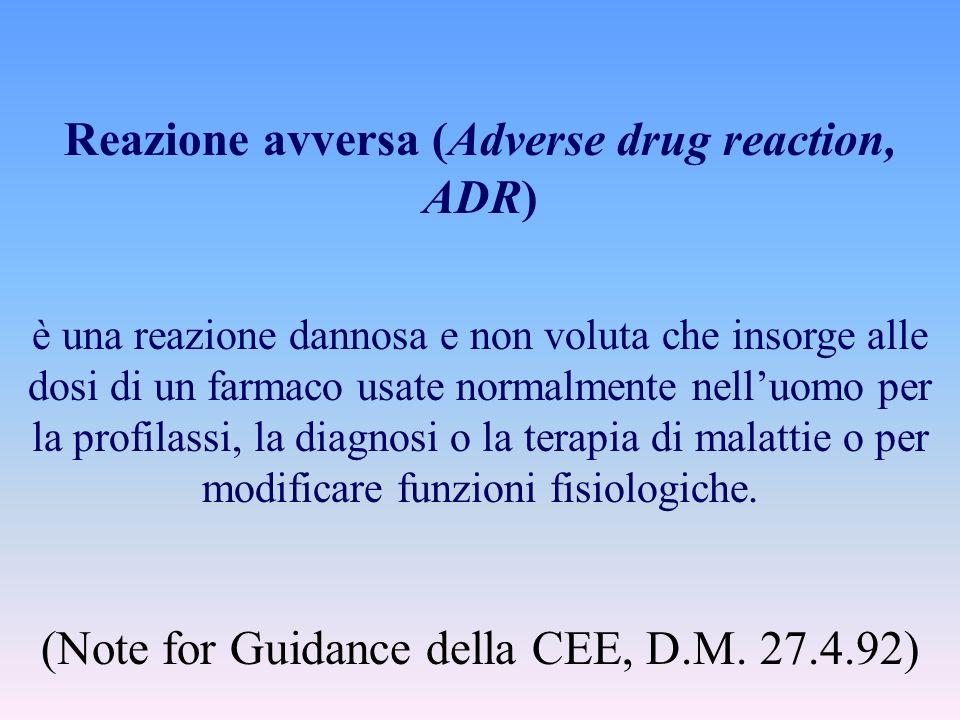 Reazione avversa (Adverse drug reaction, ADR) è una reazione dannosa e non voluta che insorge alle dosi di un farmaco usate normalmente nelluomo per l