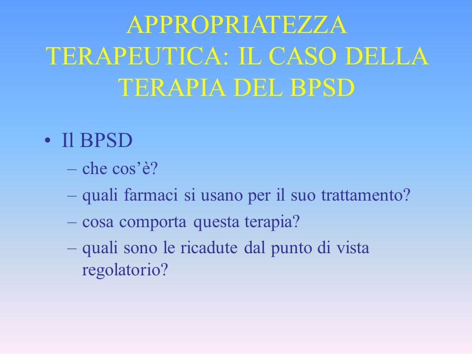 APPROPRIATEZZA TERAPEUTICA: IL CASO DELLA TERAPIA DEL BPSD Il BPSD –che cosè? –quali farmaci si usano per il suo trattamento? –cosa comporta questa te