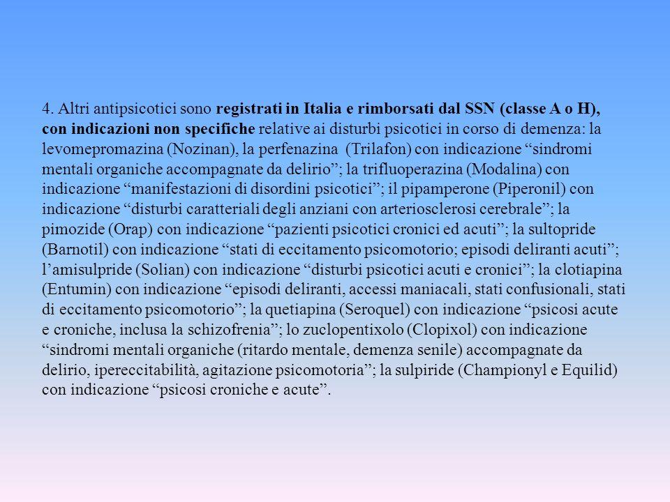 4. Altri antipsicotici sono registrati in Italia e rimborsati dal SSN (classe A o H), con indicazioni non specifiche relative ai disturbi psicotici in