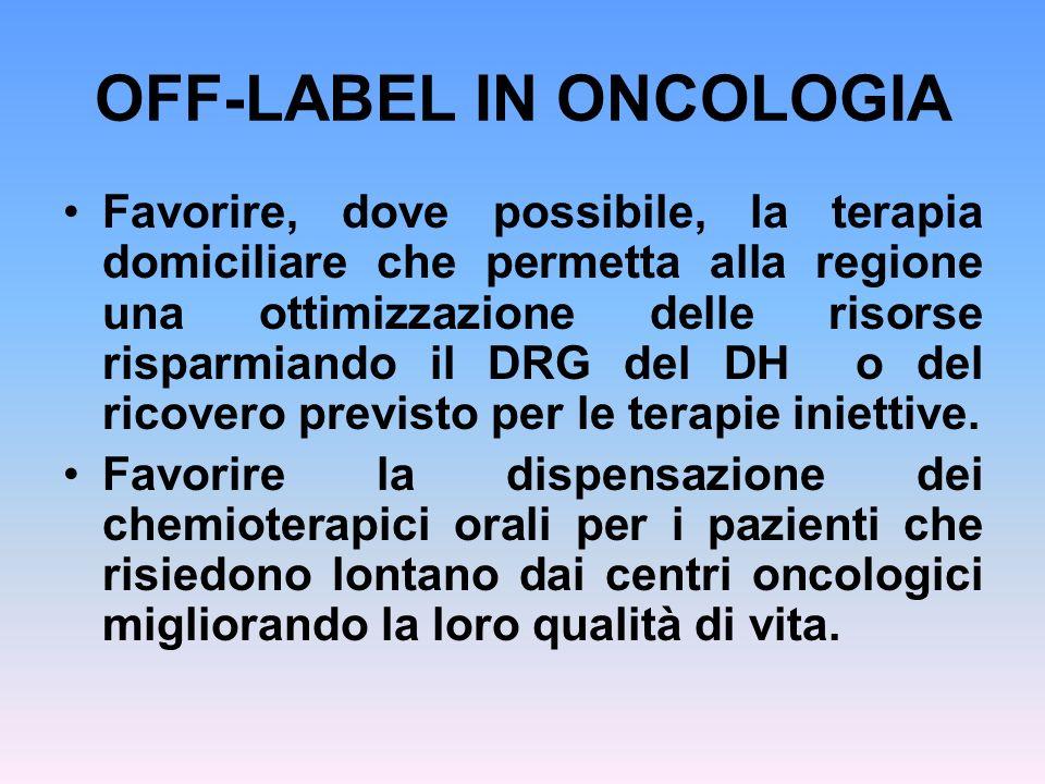 OFF-LABEL IN ONCOLOGIA Favorire, dove possibile, la terapia domiciliare che permetta alla regione una ottimizzazione delle risorse risparmiando il DRG